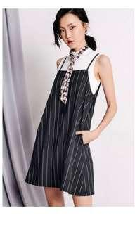 FASHMOB Quentin Stripe Dress in Grey