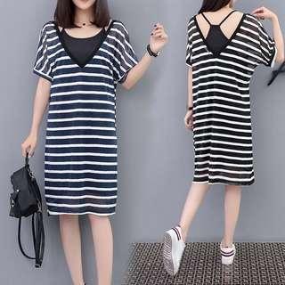 [PO] XL-5XL Plus Size 2 Pcs Striped Summer Dress