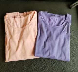 Uniqlo Heattech U-neck Long Sleeve Extra Warm T-shirt 兩件圓領長袖極暖T恤