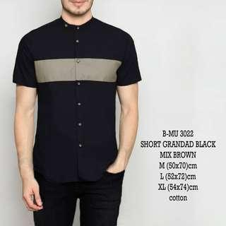 bajukecee - Kemeja Pendek Black Mix Brown Simple
