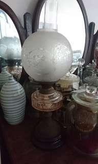 Vintage Colonial Peranankan Glass Oil Lamp