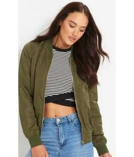 DOTTI ARMY GREEN BOMBER JACKET