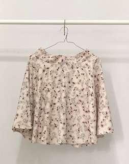 PLOWBRANDS Cream Pink Coloured Floral Print Flared Skirt
