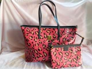 9成半新MCM Large w/small Tote Bag Hand Bag 手袋Made in Korea