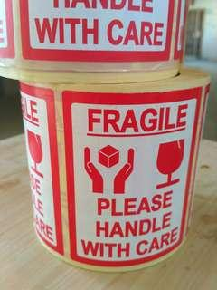 FRAGILE HANDLE WITH CARE Stickers 2 Rolls