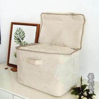 日本無印良品Muji純色無印棉麻拉鏈收納箱簡約衣物被褥儲物盒衣櫥整理包袋防水收納,35*35*32公分(原價850)