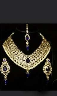 Royal blue kundan Indian Jewellery Set