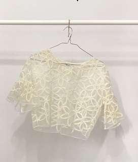 Kadang Beige Sheer Short Flared Sleeves Bolero Top with Floral Embroidery