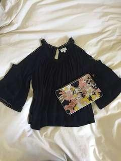 Seed cut out crepe top