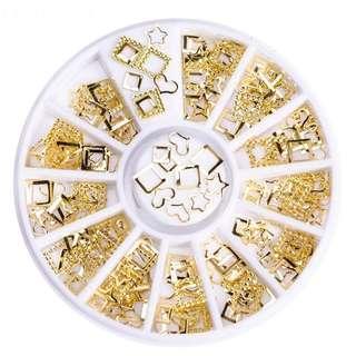 🚚 Mixed Gold Hollow Shape Nail Decor