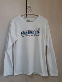 🚚 白色棉 字母圖案長袖 T 恤--M