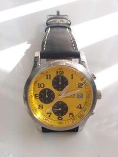 Fossil 黃面男裝計時電子錶