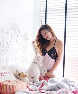 🚚 INSTOCK | shop 6ixty8ight lace-up back lace trim slip dress