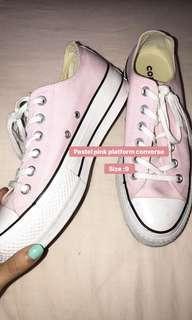Pastel pink platform converse