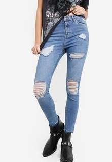 Topshop Jamie ripped blue supper ripped Jamie jeans