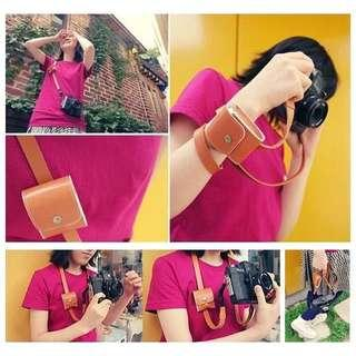PU Leather Camera Strap Shoulder With small pouch