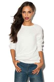 White quilted sweatshirt