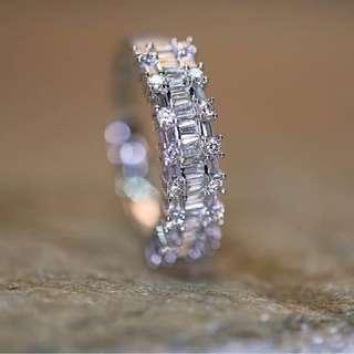Hong Kong Setting Emerald Illusion Diamond Half Eternity Ring