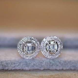 Hong Kong Setting Emerald Illusion Diamond Earrings Double Halo Diamond Setting