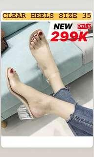 Clear heels new size 35