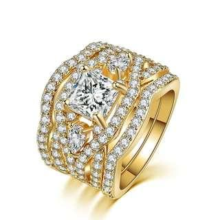 Luxury Yellow gold plated Ring Set