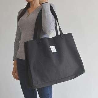 Big Canvas Tote Bag Black Button Design. Go plastic free, save the earth!
