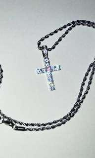 ✅ CROSS PENDANT + FREE 24 INCH SILVER ROPE CHAIN HIP HOP CHAIN