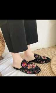 Black embroided floral velvet slip on mules shoes