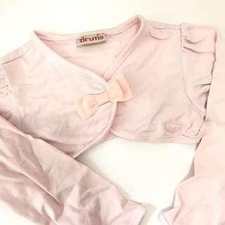 Brums Baby pink cropped jacket bow 18m