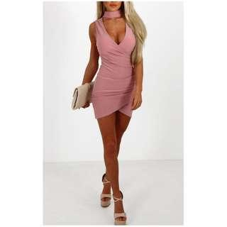 V Neck Wrap Dress w/ Choker