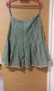 Green Knee-Length Polkadot Skirt