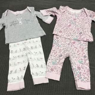 2 sets of Mothercare Top and Bottom