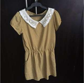 Vintage inspired lace patterned mustard dress