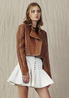Aje Zeppelin Leather Jacket in Tan - Size 10 BNWOT RRP $700