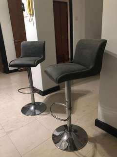 2 chair bar chairs fabric with steel legs