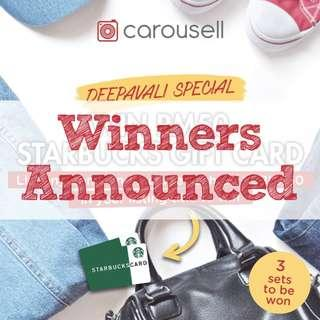 [GIVEAWAY CLOSED] (DEEPAVALI SPECIAL) List & WIN 3 x RM50 Starbucks Gift Card