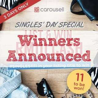 [GIVEAWAY CLOSED] [SINGLES' DAY SPECIAL] List & WIN RM111 Cash! (3 DAYS ONLY)