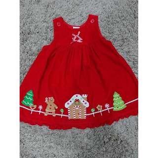 美國 手作 聖誕節 紅色 洋裝