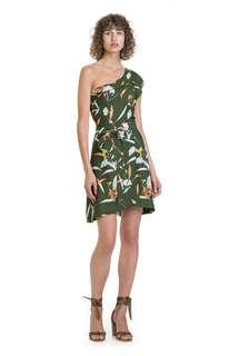 Country Road Mini Wrap Dress in Olive Tropical Print - Size 14 BNWT RRP $200