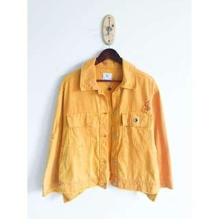 Bershka Mustard Yellow Oversized Denim Jacket