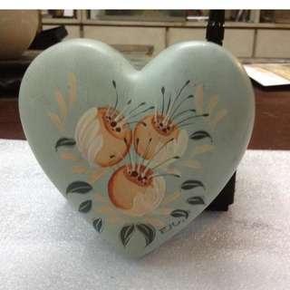 Antique Vintage Hand Painted Ceramic Jewelry Box
