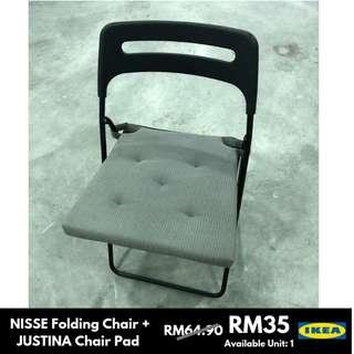 IKEA NISSE Folding Chair (RM45)/JUSTINA Chair Pad (RM19.90)