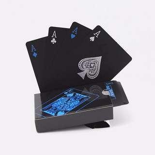 [PO] Cool Black Plastic PVC Waterproof Playing Cards Poker