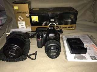 D3100 Complete with 18-55mm and 55-200mm Lens
