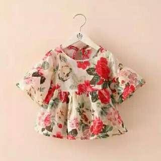 Baju atasan motif bunga anak perempuan