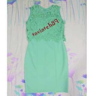 BNWT Overlay Crochet Lace Dress (Mint Green)