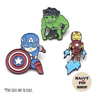 [AVAIL @ Cine] Avengers Captain America, The Hulk, Iron Man Enamel Pins