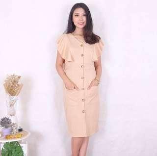 Dress kancing krem / cream button dress