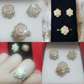 Real 14k gold with diamonds ring and earrings
