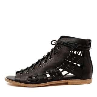 Mollini 'Nevada' Black Leather Sandal - EU 39